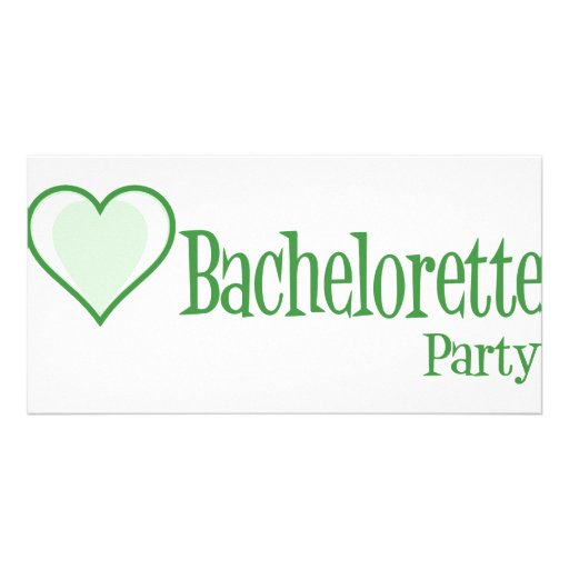 SingleHeart-BacheloretteParty-Grn Personalized Photo Card