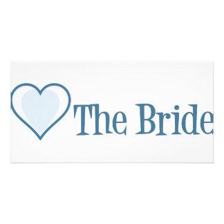 SingleHeart-Bride-Blue Customised Photo Card