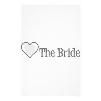 SingleHeart-Bride-Grey Personalized Stationery