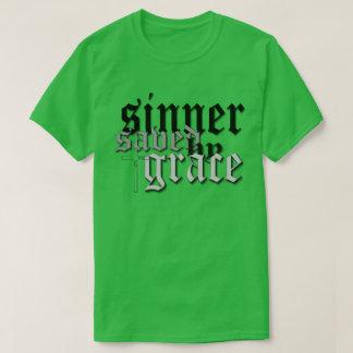 sinner saved by grace drk t var green T-Shirt