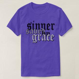 sinner saved by grace drk t var purple T-Shirt