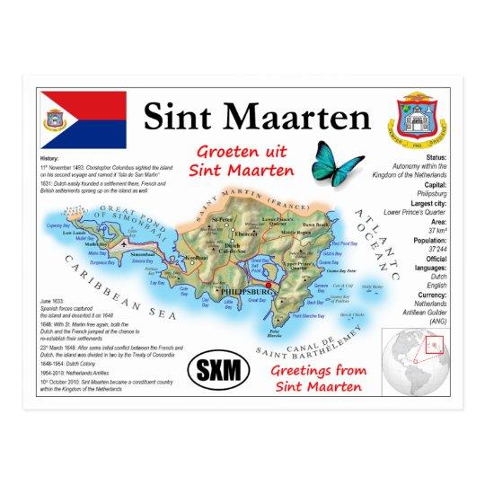 Sint Maarten Map Postcard