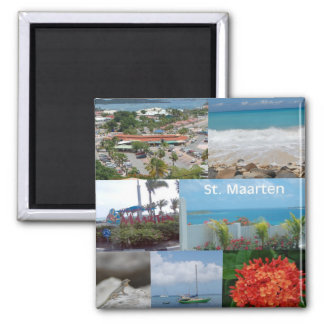 Sint Maarten-Saint Maarten Photo Collage Square Magnet