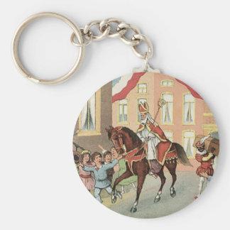 Sinterklaas Dutch St. Nick Vintage St. Nicholas Basic Round Button Key Ring