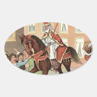 Sinterklaas Dutch St. Nick Vintage St. Nicholas Oval Sticker