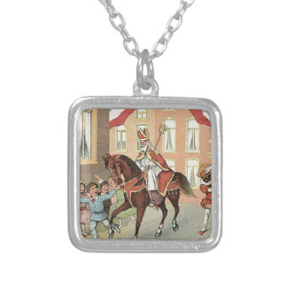 Sinterklaas Dutch St. Nick Vintage St. Nicholas Silver Plated Necklace