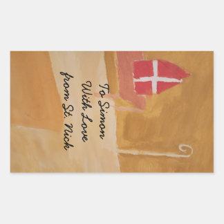 Sinterklaas St. Nick St. Nicholas Miter Watercolor Rectangular Sticker