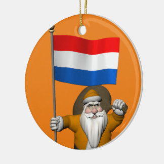 Sinterklaas With Ensign Of The Netherlands Ceramic Ornament