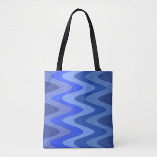 Sinus Waves pattern - blue mix + your ideas Tote Bag