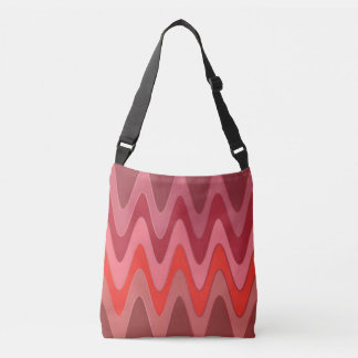 Sinus Waves pattern - red mix + your ideas Crossbody Bag