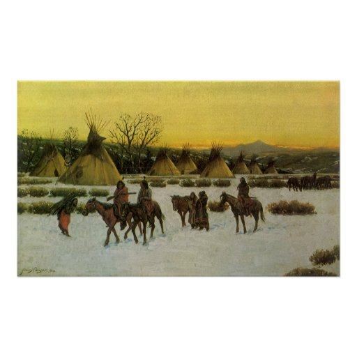 Sioux Camp at Wounded Knee by John Hauser Print