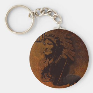 Sioux Chieftain Native American Gift Basic Round Button Key Ring