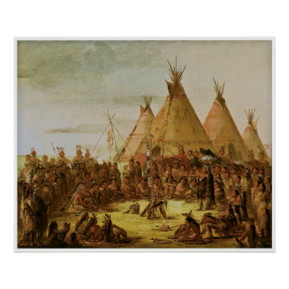 Sioux War Council by George Catlin Poster