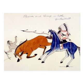 Sioux warrior Aintka Mato unhorsing rival Postcard