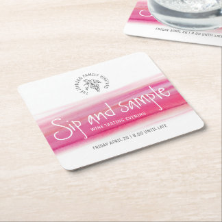 Sip and sample red wine tasting paper coasters