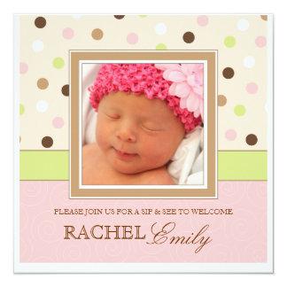 Sip and See Baby Girl Photo PolkaDot Invitation