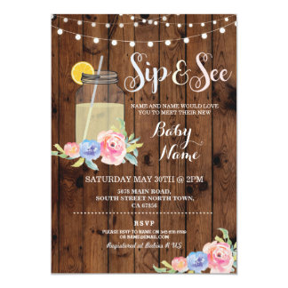 Sip and See Baby Shower Floral Wood Rustic Invite