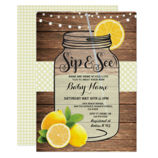 Sip and See Baby Shower Wood Rustic Yellow Invite