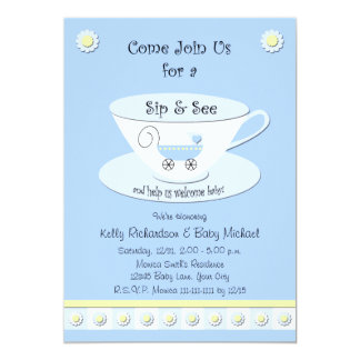 Sip and See Invitations Baby Boy