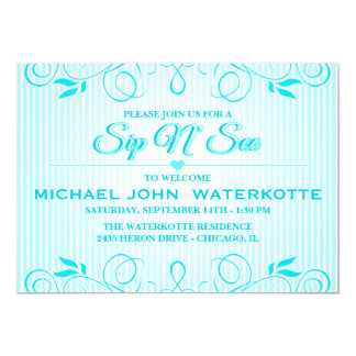 Sip and See Modern Blue Flourish Stripes Invite