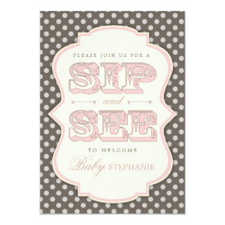 Sip and See Sweet Baby Girl Pink Brown Invitation