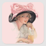 Sipping Soda Girl in Hat Square Sticker