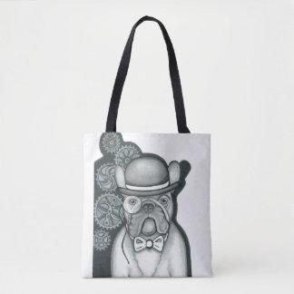 Sir Bouledogue white tote bag