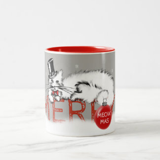 Sir Cat shows your Christmas wishes! Two-Tone Coffee Mug