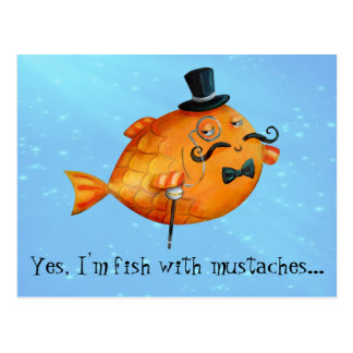 Sir Fishy Mustached Fish Postcard