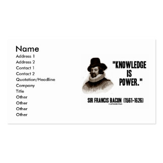 Sir Francis Bacon Knowledge Is Power Pack Of Standard Business Cards