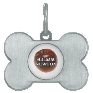 sir isaac newton apple pet tags