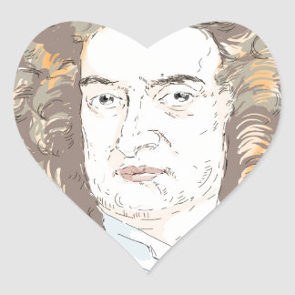 Sir Isaac Newton Heart Sticker