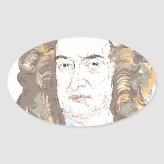 Sir Isaac Newton Oval Sticker