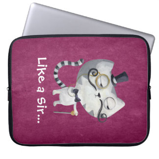 Sir Kitty Cat with Mustaches Laptop Sleeves