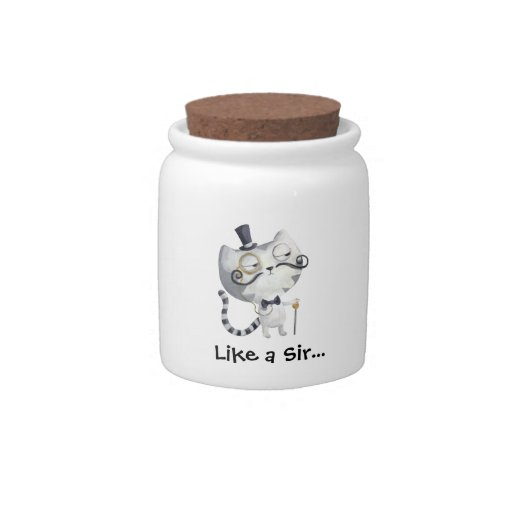 Sir Kitty Cat with Mustaches Candy Jars