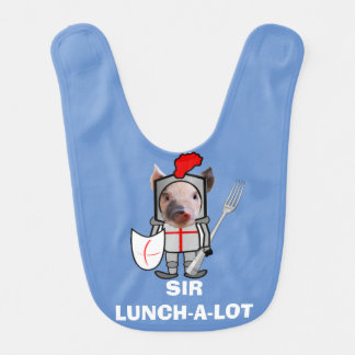 Sir Lunch-a-Lot Knighted Pig with a Fork Pacifier Baby Bib