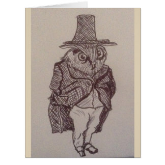 Sir Owl And His atop Hat Card