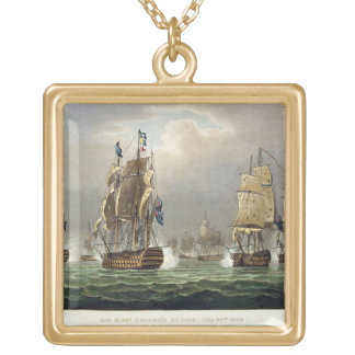 Sir Robert Calder's Action, July 22nd 1805, engrav Gold Plated Necklace