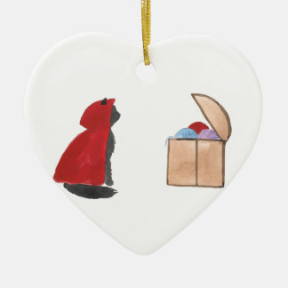 Sir Squeaker of Kittenton Is Victorious Ceramic Heart Decoration
