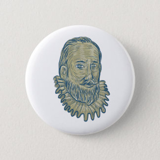 Sir Walter Raleigh Bust Drawing 6 Cm Round Badge