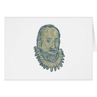 Sir Walter Raleigh Bust Drawing Card