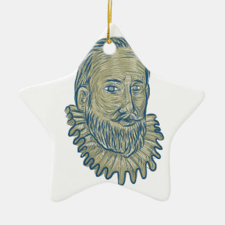 Sir Walter Raleigh Bust Drawing Ceramic Ornament