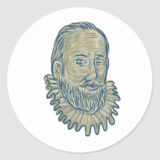 Sir Walter Raleigh Bust Drawing Classic Round Sticker