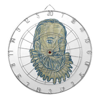 Sir Walter Raleigh Bust Drawing Dartboard