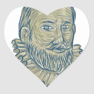 Sir Walter Raleigh Bust Drawing Heart Sticker