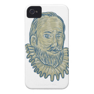 Sir Walter Raleigh Bust Drawing iPhone 4 Cases