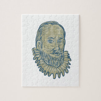 Sir Walter Raleigh Bust Drawing Jigsaw Puzzle
