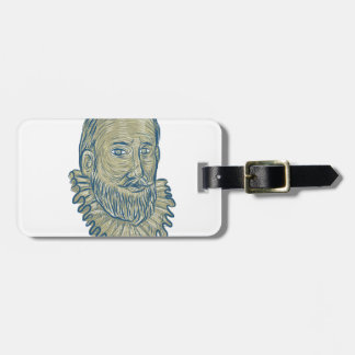 Sir Walter Raleigh Bust Drawing Luggage Tag