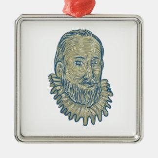 Sir Walter Raleigh Bust Drawing Metal Ornament