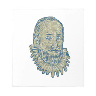 Sir Walter Raleigh Bust Drawing Notepad
